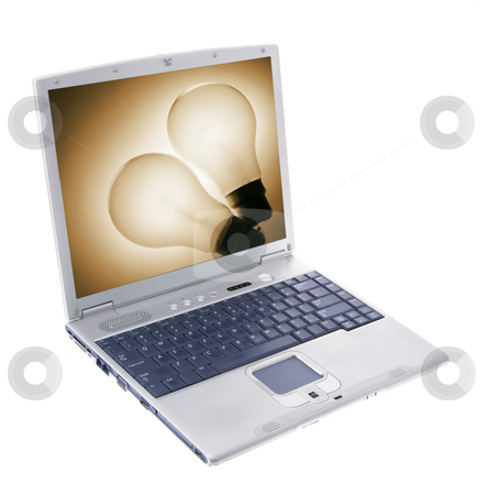 Laptop Computer stock photo, Laptop Computer on Isolated White Background by Lai Leng Yiap