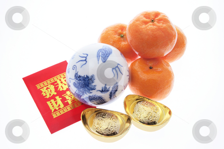 Chinese New Year Products stock photo, Chinese New Year Products on Isolated White Background by Lai Leng Yiap