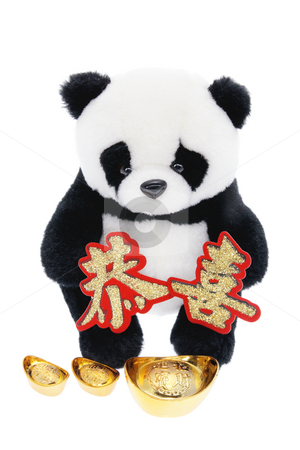 Toy Panda with Chinese New Year Decorations stock photo, Toy Panda with Chinese New Year Decorations by Lai Leng Yiap
