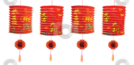 Chinese New Year Lanterns stock photo, Chinese New Year Lanterns on White Background by Lai Leng Yiap