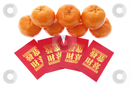 Mandarins and Red Packets stock photo, Mandarins and Red Packets on Isolated White Background by Lai Leng Yiap