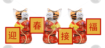 Toy Tigers in Chinese Costume stock photo, Toy Tigers in Chinese Costume on White Background by Lai Leng Yiap