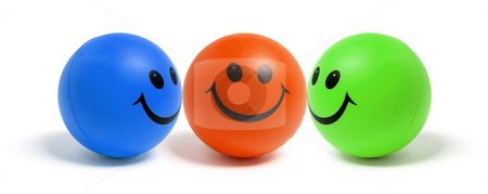 Smiley Balls stock photo, Smiley Balls on White Background by Lai Leng Yiap