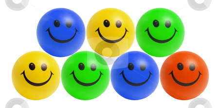 Smiley Bals stock photo, Smiley Balls on Isolated White Background by Lai Leng Yiap