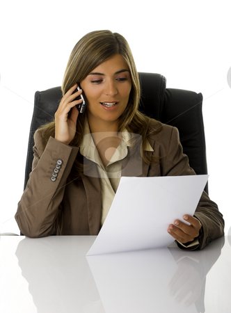Business woman stock photo, Business woman talking with clients at the phone by ikostudio