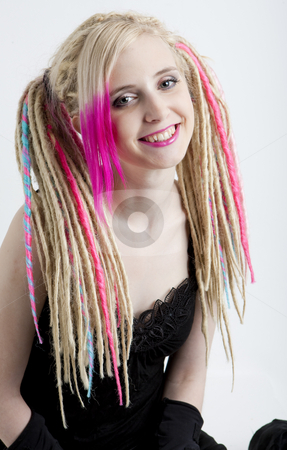Portrait of young woman with dreadlocks stock photo, Portrait of young woman with dreadlocks by Richard Semik