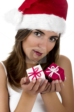Christmas woman stock photo, Christmas season! Different poses of a beautiful woman with small gifts on the hands.  (Focus is on the face) by ikostudio