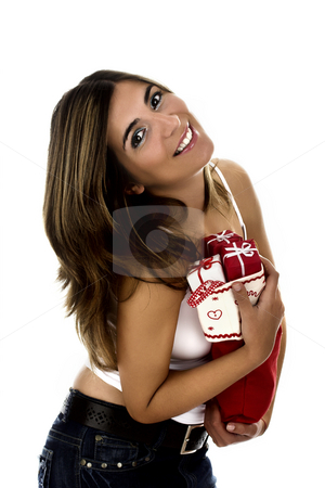 Christmas woman stock photo, Christmas season! Different poses of a beautiful woman with small gifts on the hands. by ikostudio