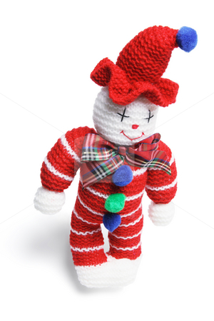 Woollen Toy Clown stock photo, WoollenToy Clown on White Background by Lai Leng Yiap
