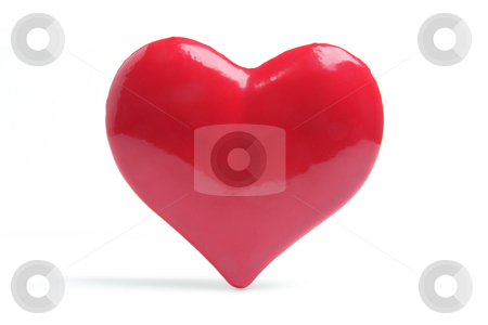 Red Love Heart stock photo, Red Love Heart on White Background by Lai Leng Yiap