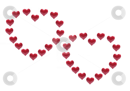 Red Love Hearts stock photo, Red Love Hearts on Isolated White Background by Lai Leng Yiap