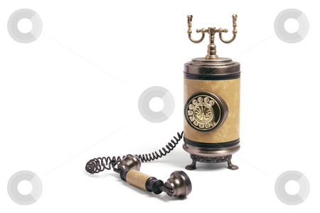 Vintage Phone stock photo, Vintage Phone on Isolated White Background by Lai Leng Yiap