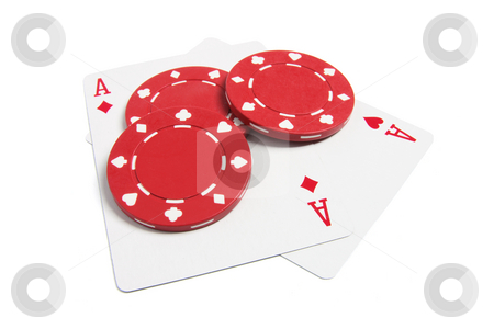 Poker Chips and Playing Cards stock photo, Poker Chips and Playing Cards on White Background by Lai Leng Yiap