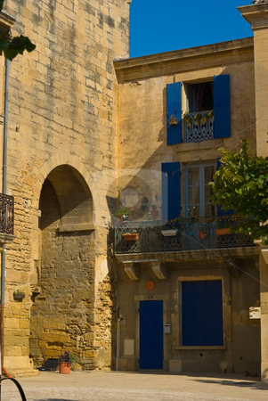 H?user in Remoulin, Provence, S?dfrankreich - Houses in remoulin stock photo,  by Wolfgang Heidasch
