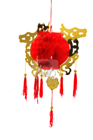 Chinese Lantern stock photo, Chinese Lantern on Isolated White Background by Lai Leng Yiap