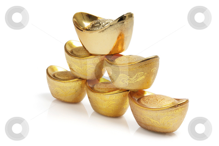 Stack of Chinese Gold Ingots stock photo, Stack of Chinese Gold Ingots on White Background by Lai Leng Yiap