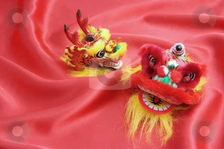 Chinese New Year Decorations stock photo, Chinese New Year Decorations on Red Velvet by Lai Leng Yiap