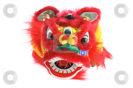 Chinese Lion Dance  stock photo, Chinese Lion Dance on White Background by Lai Leng Yiap