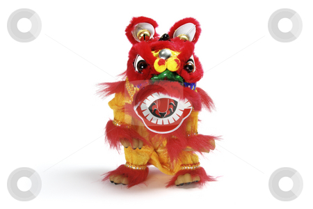 Lion Dancing stock photo, Lion Dancing on White Isolated Background by Lai Leng Yiap