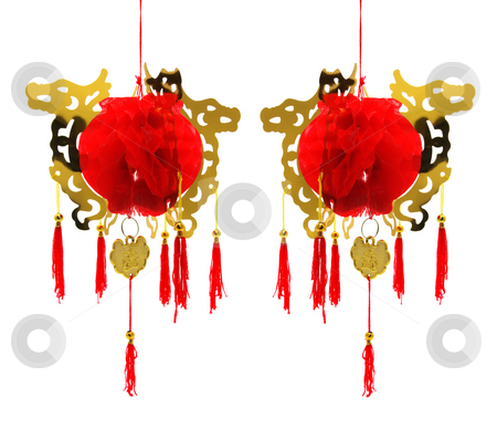 Chinese Lanterns stock photo, Chinese Lanterns on Isolated White Background by Lai Leng Yiap