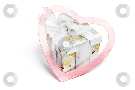 Gift Parcel and Love Heart stock photo, Gift Parcel and Love Heart on White Background by Lai Leng Yiap