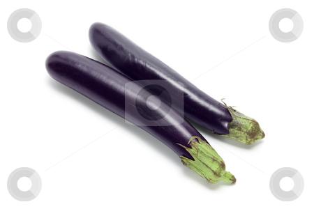 Eggplants stock photo, Eggplants on Isolated White Background by Lai Leng Yiap