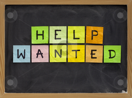 Help wanted stock photo, Help wanted - colorful sticky notes sign on blackboard with white chalk texture by Marek Uliasz