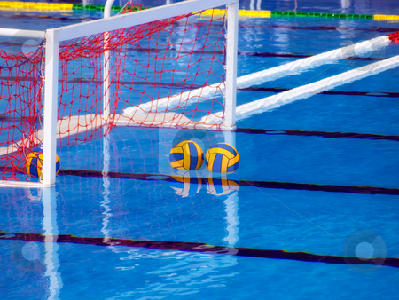 Waterpolo stock photo, Goal nad balls in the pool before the waterpolo game. by Sinisa Botas
