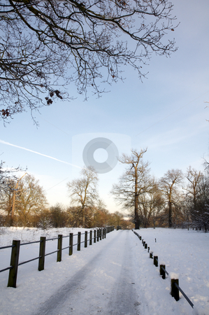 Winter stock photo, A footpath covered in snow with a fence by Mark Bond