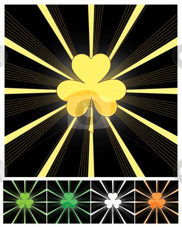 Shamrock and sunburst stock vector clipart, Shamrock and sunburst - vector illustrations by Nikola Stulic