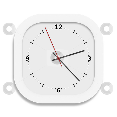 Clock stock photo, An illustration of a big white clock by Markus Gann