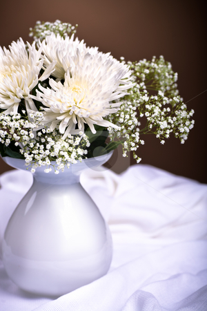 Chrysanths bunch stock photo, Bunch of chrysanthemums on the table by Val Thoermer