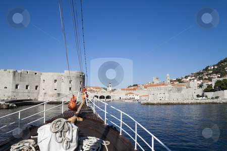 Bow of Ship stock photo, The bow of a ship with a blue sky beyond by Kevin Tietz