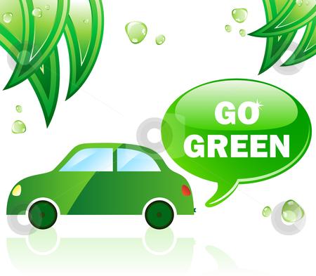 Go Green Ecology Car stock vector clipart, Go Green Ecology Car. Editable Vector Illustration. by Augusto Cabral Graphiste Rennes