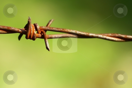 Twisted Barbed wire  stock photo, Close-up of old rusty twisted barbed wire. by Gregory Dean