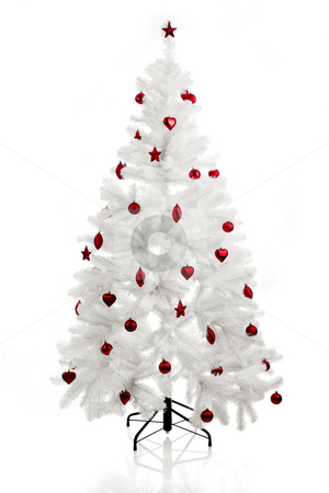 Christmas Tree stock photo, Christmas white tree with red ornaments by ikostudio