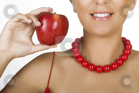 Red glamour stock photo, Beautiful young woman holding a red apple by ikostudio