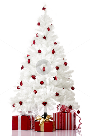 Christmas Tree stock photo, Christmas white tree and gifts over a white background by ikostudio