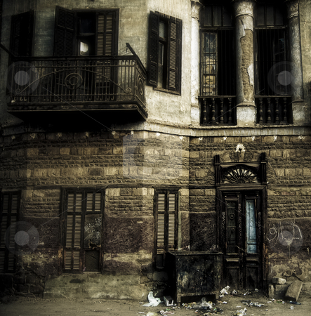 Colonial building in Luxor Egypt stock photo, An old colonial building in the town on Luxor Egypt. by Clive Nolan