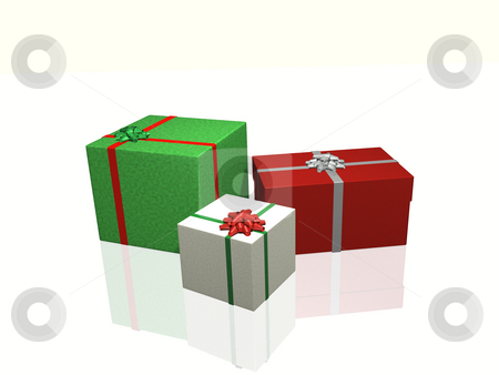 Christmas Gifts stock photo, Three christmas gifts on a white background. by Nelson Marques