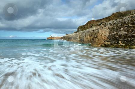 Sea motion long exposure, Portreath pier, Cornwall UK. stock photo, Sea motion long exposure, Portreath pier, Cornwall UK. by Stephen Rees