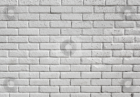 White painted blank brick wall background. stock photo, White painted blank brick wall background. by Stephen Rees