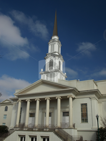 Southern Church stock photo, Southern Church building with a tall spire by Tim Markley