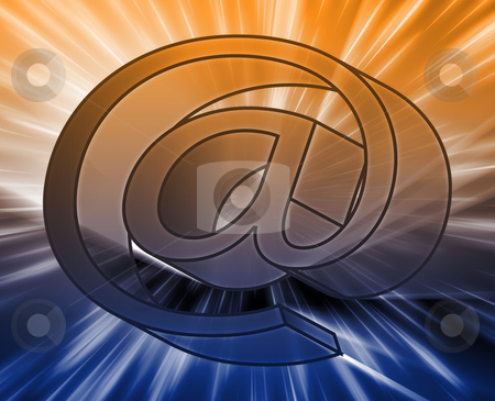 At internet symbol stock photo, At internet symbol, digital illustration with glowinng light by Kheng Guan Toh