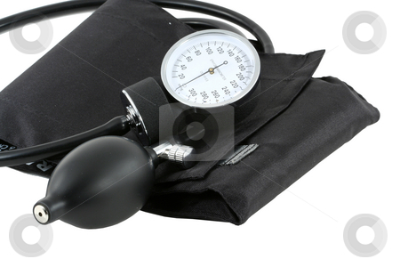 Sphygmomanometer bulb and cuff stock photo, A Sphygmomanometer bulb and cuff for taking blood pressure by Jim Mills