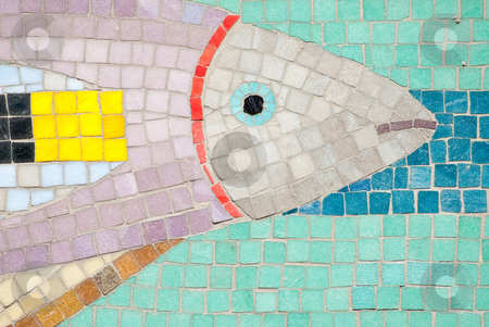 Underwater mosaic stock photo, A image of a mosaic showing a underwater world with a fish by Alexander L?