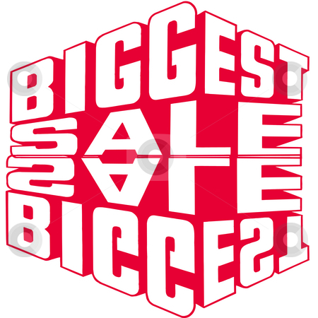 Big Red Sale Sign stock photo, Biggest red sale mirrored sign by CHERYL LAFOND
