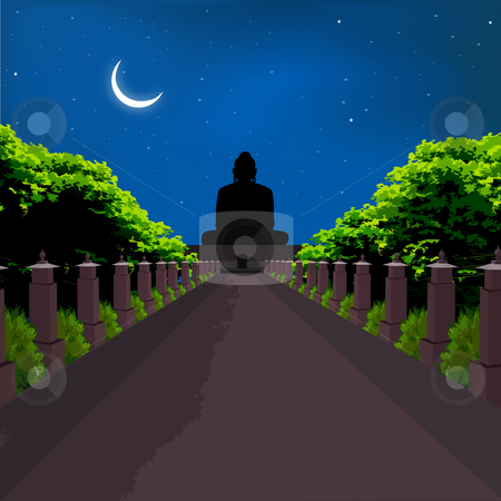 Silhouette view of buddha statue, crescent shaped moon stock photo, Silhouette view of buddha statue, crescent shaped moon by Abhishek Poddar