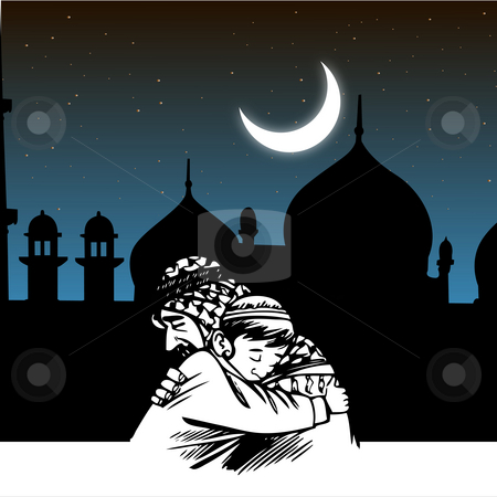 Father-son embracing,ramadaan,eid,mosque,festival stock photo, Father-son embracing,ramadaan,eid,mosque,festival by Abhishek Poddar