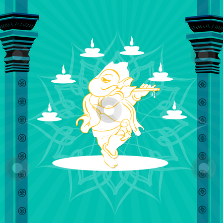 Statue of god ganesha with pillars and lamps stock photo, Statue of god ganesha with pillars and lamps by Abhishek Poddar